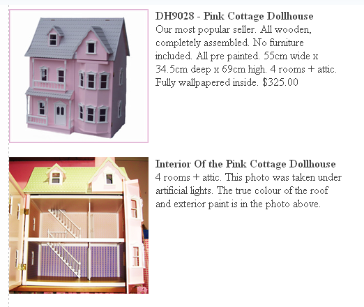WOODEN DOLLHOUSES - Call for availabilty.         Pink Cottage House $350.00