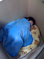 ゴゴゴゴゴゴ・・・最近寝たふりでいびきをかくまねをする息子です。