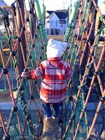 滑り台への階段を上がり、1本道で頂上を目指す息子。