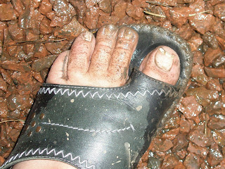 My muddy toes on Saturday night - I had to wash my feet on the doorstep in the mop bucket!!