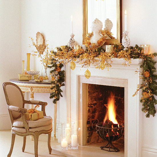Christmas ideas christmas fireplace decoration xmas for Christmas mantel design ideas