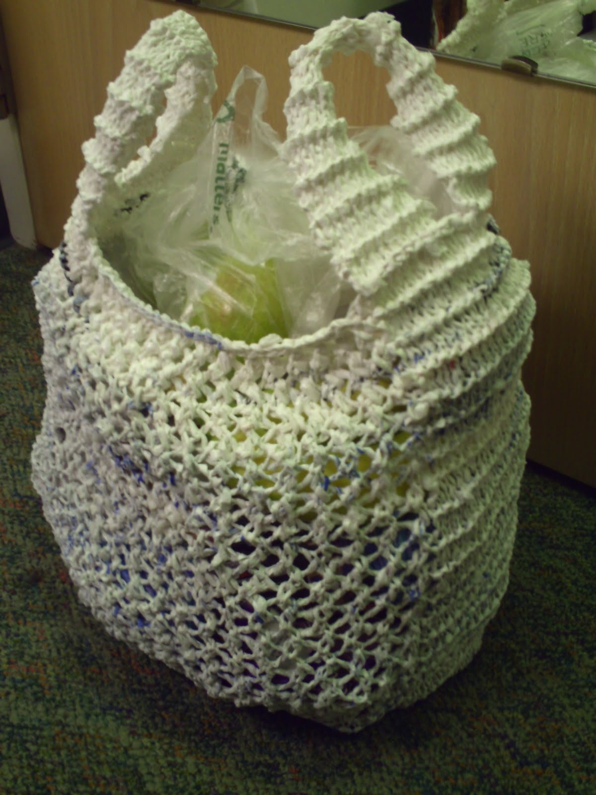 Garden of Forking Paths: Knit Plarn Grocery/Tote Bag