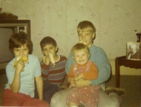 Bananas, Crackers and Nuts.  Lisa, Michael, Julie and Glen 1969