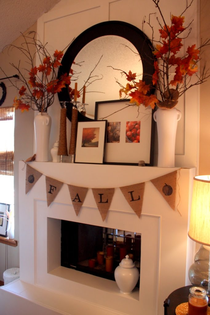 fall mantel, autumn mantel