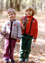 Cassrandra's Son and Daughter Gathering Wildflowers at our Farm - 1984