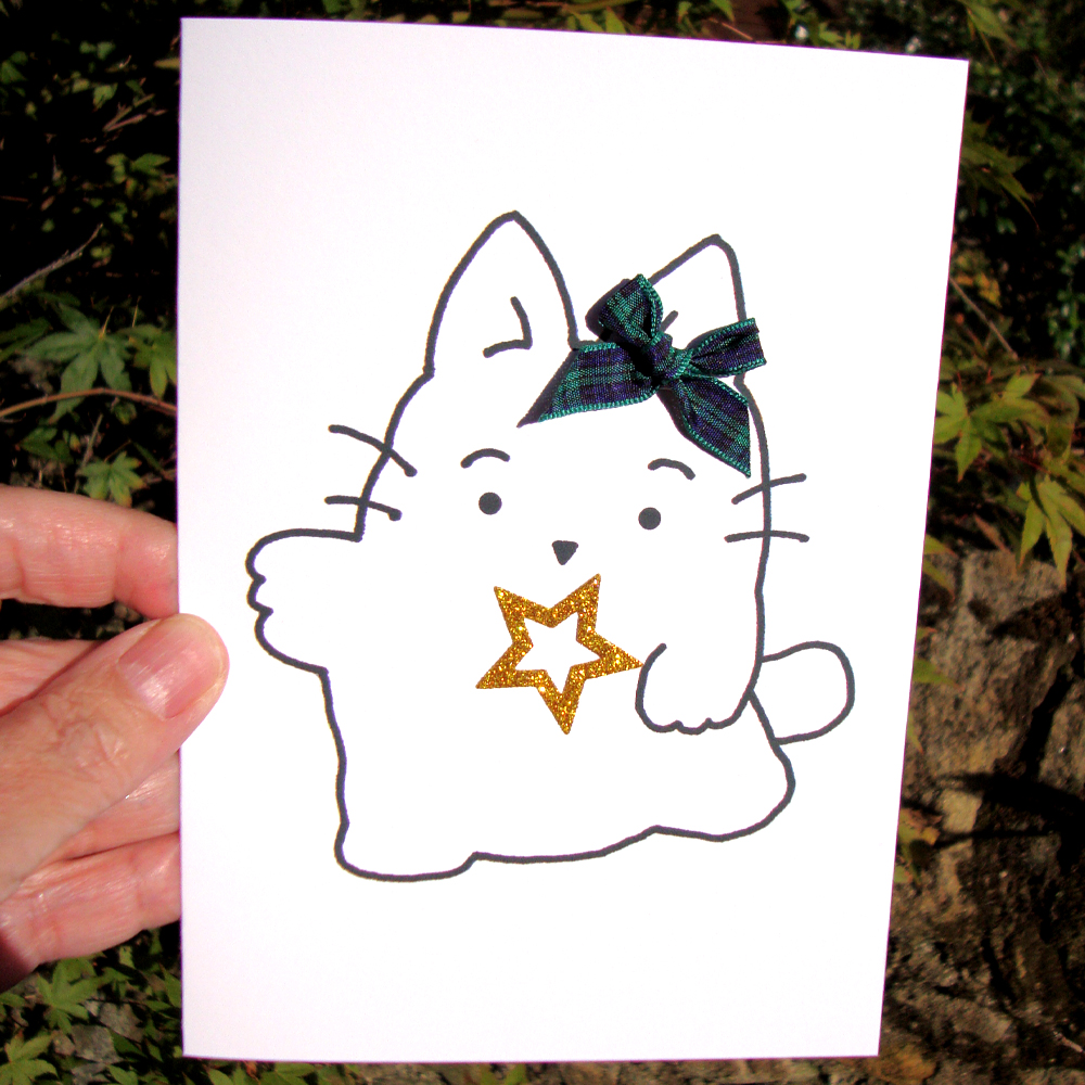 Ziggy and friends kirsty cat christmas cards with gold sparkle kirsty cat christmas cards with gold sparkle star tartan bow kristyandbryce Gallery
