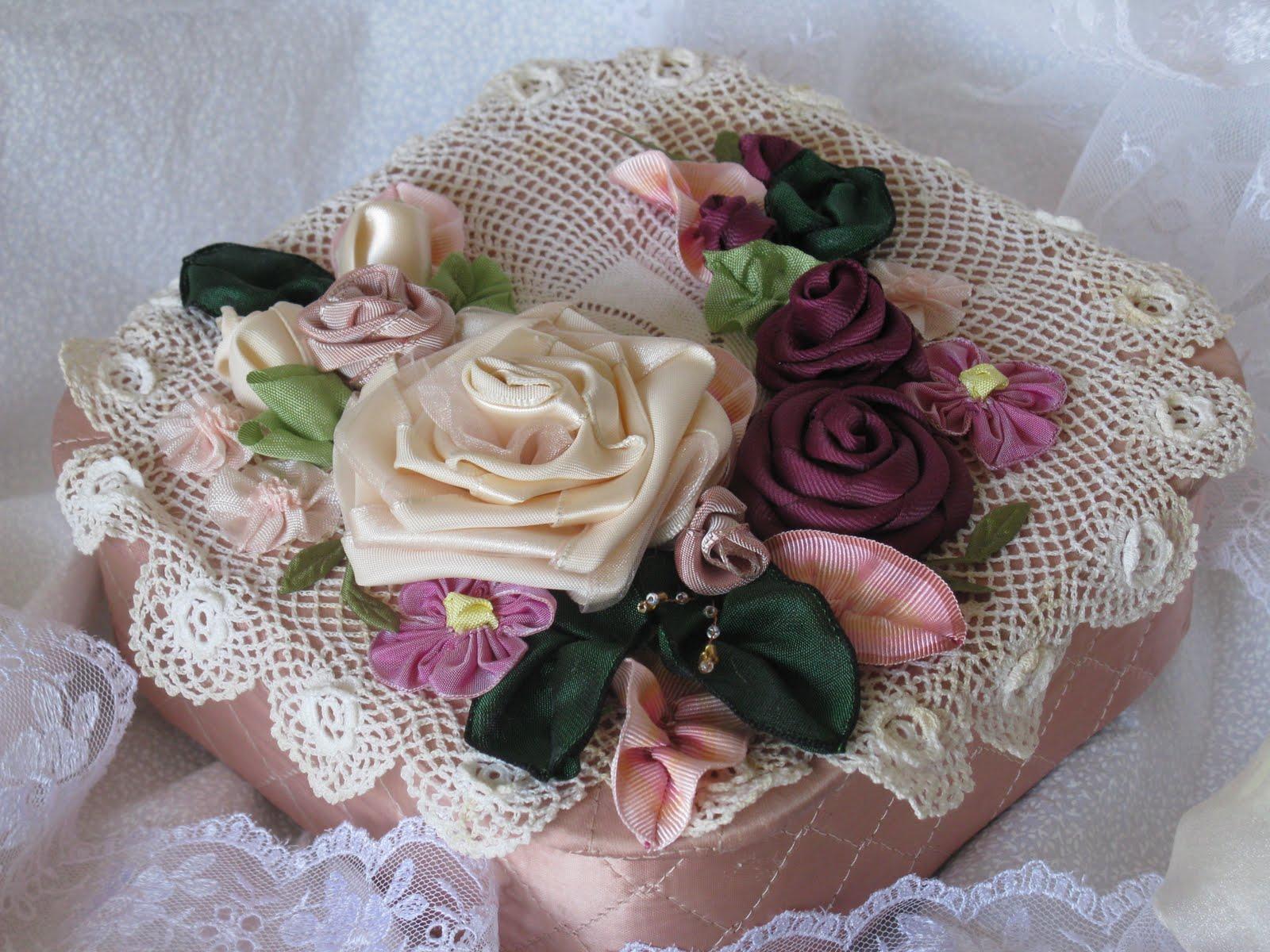 Vintage romance vintage satin box with ribbon flowers vintage satin box with ribbon flowers izmirmasajfo