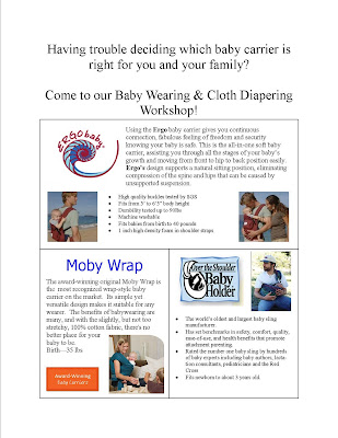 workshop flyer baby wearing