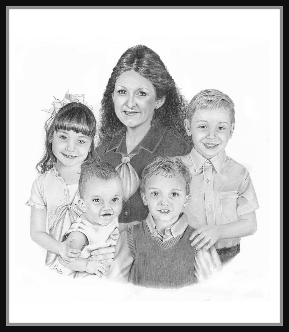 drawn by debbie drawing large family portraits