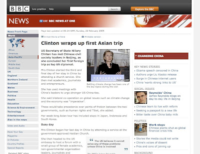 BBC news story on Clinton in Asia