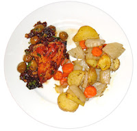 Chicken Marbella and Roasted Root Vegetables