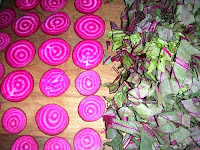 Chiogga beets and their edible leaves