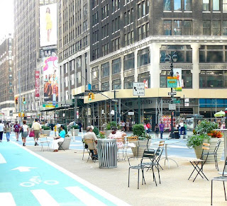 Pedestrian Park on Broadway at Macy's in New York City