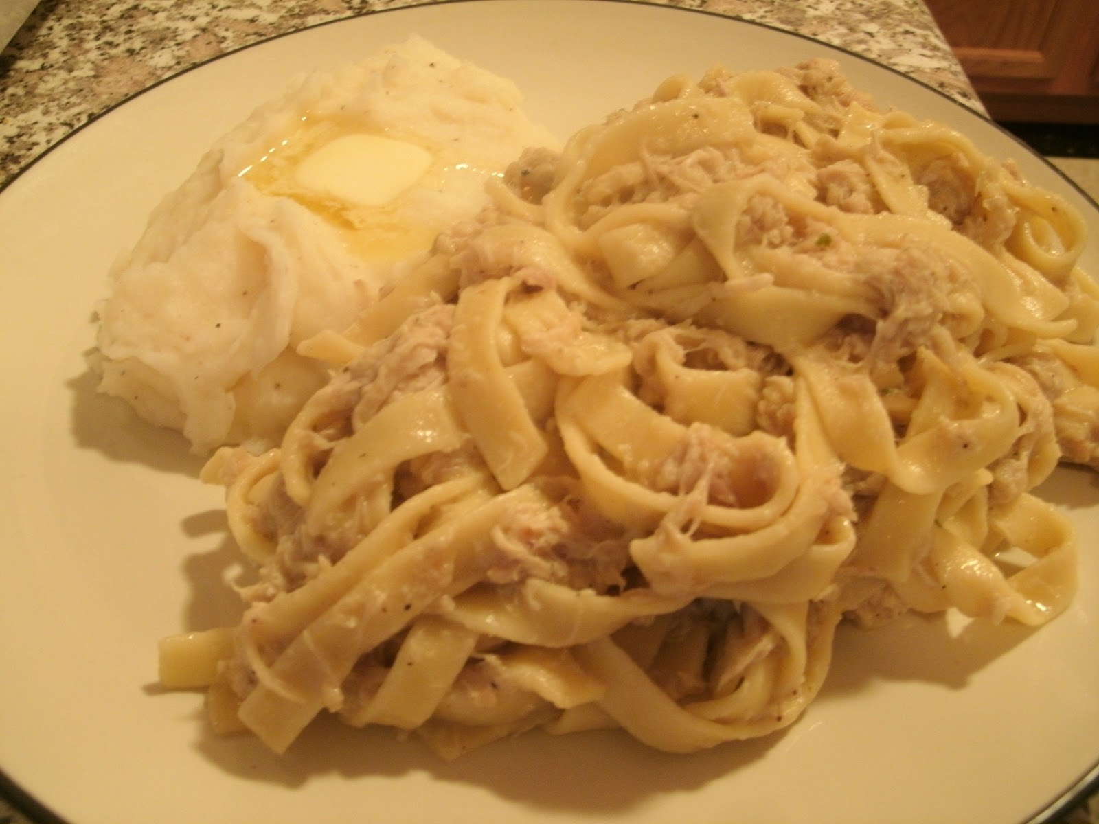 soi oven fried swiss cheese chicken with egg noodles in a creamy sauce ...
