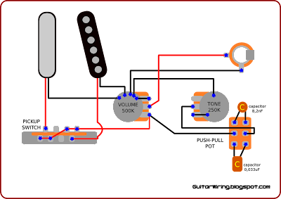 the guitar wiring blog diagrams and tips 2010 to make it you need to change volume potentiometer from 250 to 500k and put 250k push pull pot for tone control also tone capacitors are not typical
