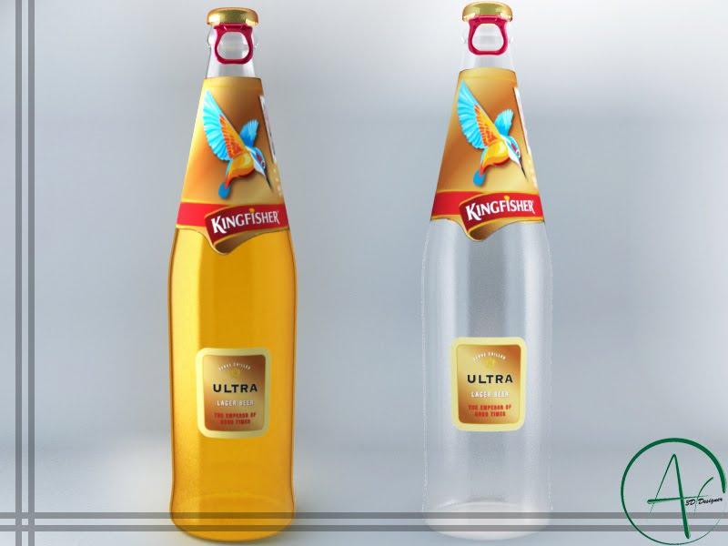 3d Designer Kingfisher Ultra Beer
