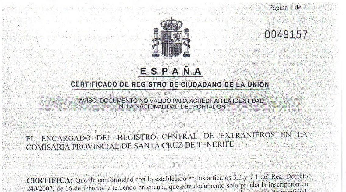 INMIGRACIÓN UNA OPORTUNIDAD: CERTIFICADO DE REGISTRO DE CIUDADANO DE ...