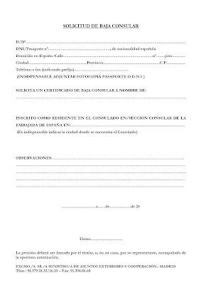 Inmigraci N Una Oportunidad Solicitud De Baja Consular Formularios Del Ministerio De