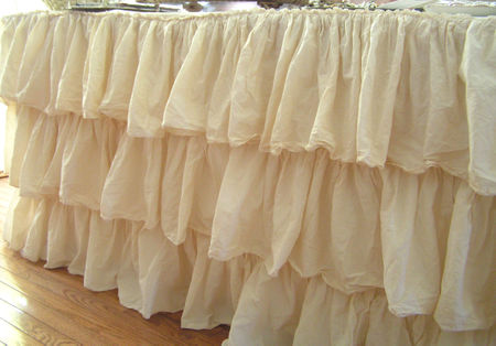 She Repurposed A Ruffled Shower Curtain To Create This Adorable Tea Stained  Tablecloth. The More Ruffled Tablecloths I See, ...