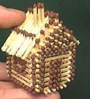 как сделать домик из спичек без клея