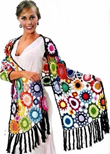 Яркий разноцветный широкий палантин .Схема вязания шарфа крючком.