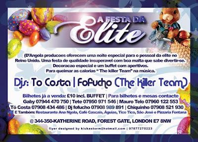 Festa Da ELite bilhetes a venda no Restaurante Ana NGola, Cafe Cascais, Aguias, Tico Tico, Sao Jose e Pizzaria Fontana