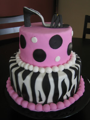 Zebra Print Bridal Shower Cake with Shoe topper