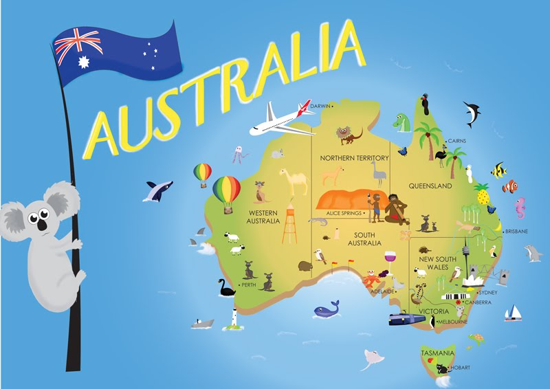 Map of australia - children from 3-6 years of age