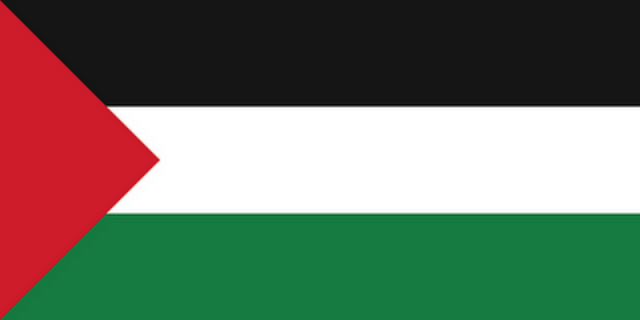 "NATIONAL FLAG OF THE COUNTRY OF ""PALESTINE"" PRONOUNCED ""PHILISTINE"" BY BIBLE AND BY NATIVES"