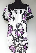 A 1083 - Blouse, purple/white colour, free size (can fit size L)