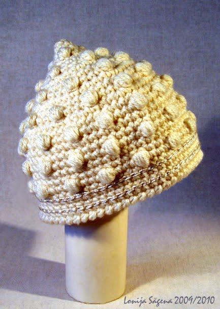 tamborēta cepure bumbuļu rakstā