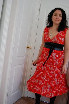 Nicole fahri orange floral print dress
