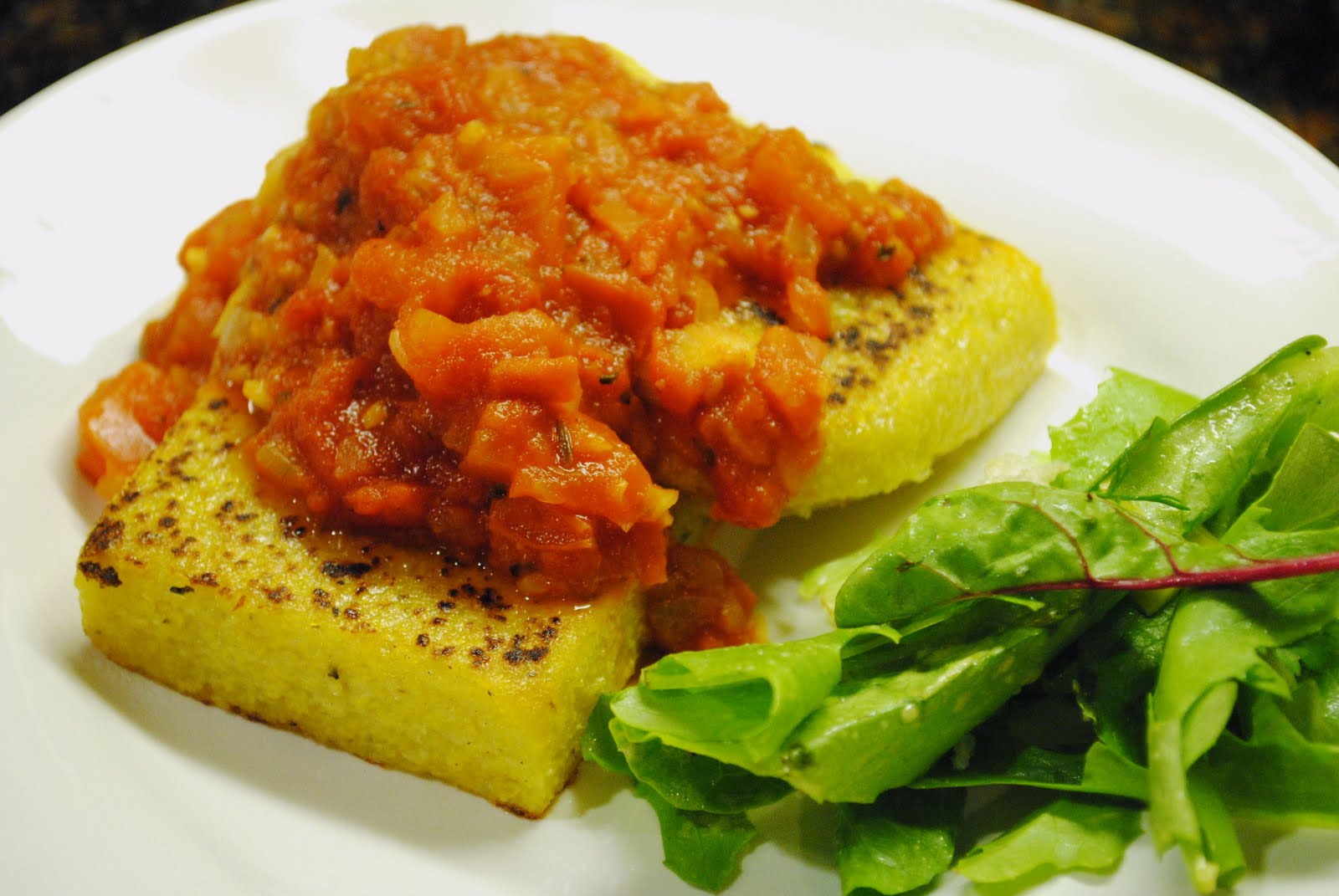 Veggies for Carnivores: Grilled Polenta Cake
