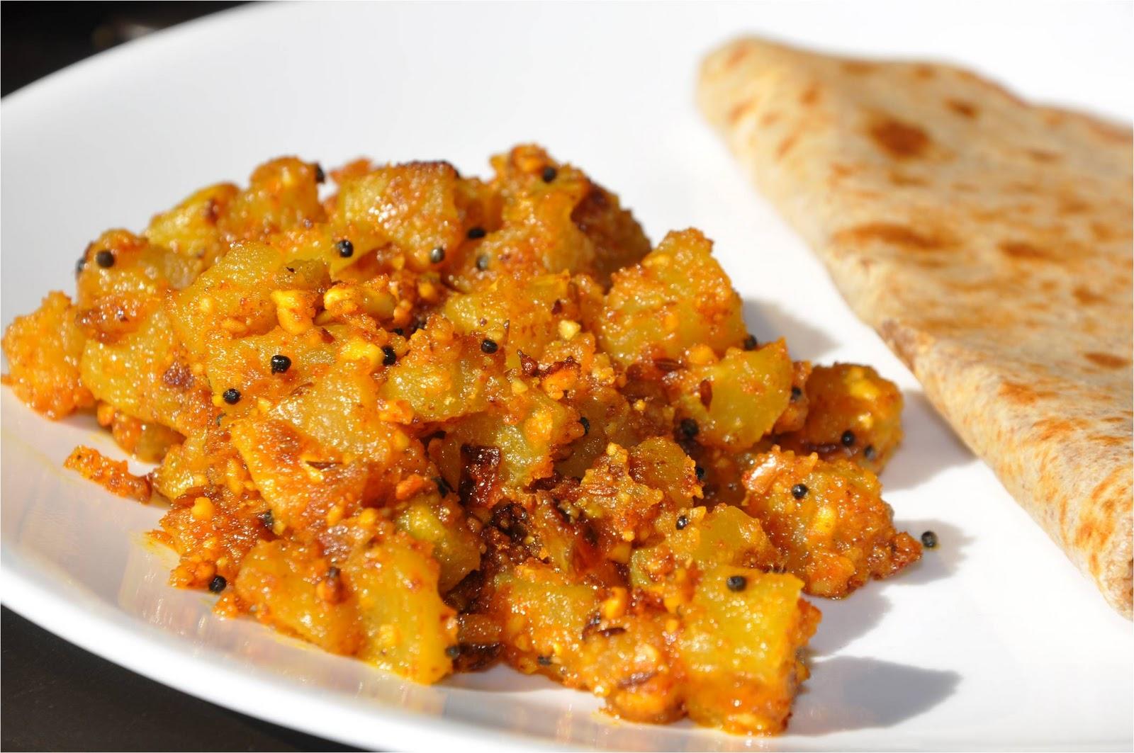 ... की सूखी सब्जी (Raw Papaya with Peanuts Fry