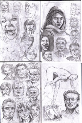 Click to enlarge: Drawing faces from newspapers and the internet to try and practice maintaining likenesses.