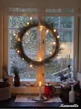 Sykkelhjul med julelys