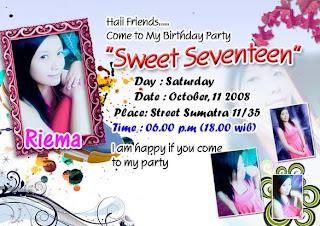 Kartu Undangan Ulang Tahun Sweet Seventen