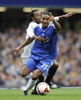 Chelsea v Bolton Wanderers Barclays Premier League at Stamford Bridge showing Chelsea's Florent Malouda