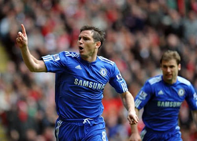 Frank Lampard of Chelsea Celebrates Scoring The Second Goal Barclays Premier League Liverpool v Chelsea 2nd May 2010