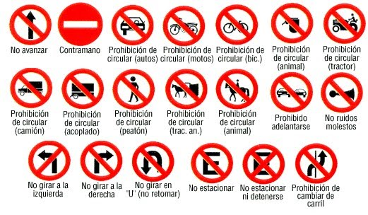 Accidentes de transito: Señales de transito- Señales de prohibicion