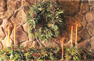 woodland holiday wreath and mantle decorations