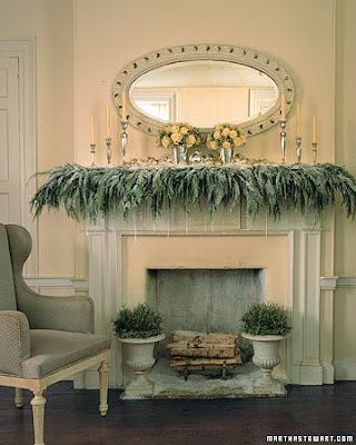 winter wonderland white snowy mantelpiece decorations