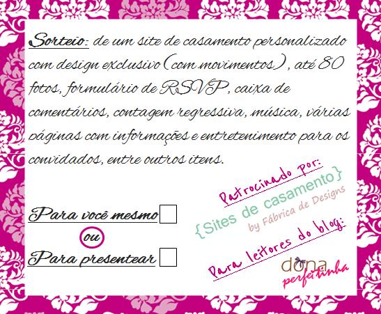 Sorteio de um site de casamento personalizado para você ou para presentear - em comemoração aos 2 anos do blog dona perfeitinha