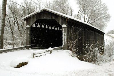 winter Covered Bridge in snow Cedarburg Wisconsin by Jeanne Selep