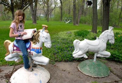 vintage carousel horse playground equipment