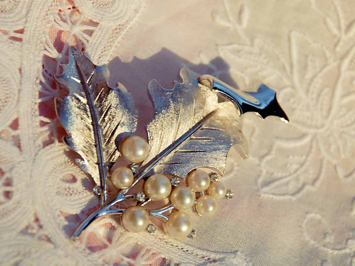 Silver Trifari holly pin with pearls