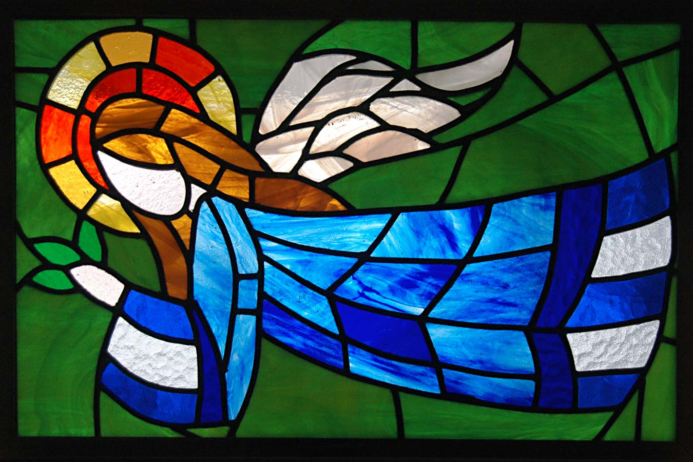 Angel stained glass window by Artist Marian Grisa