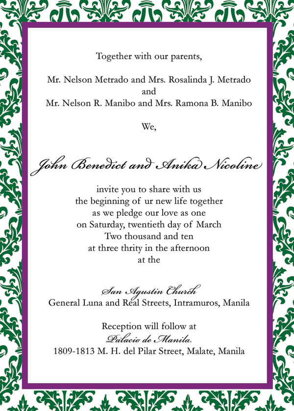 Sample Wedding Invitation Benjo and Anika