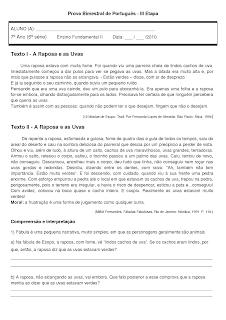 Prova de Português - 7º Ano - Ensino Fundamental