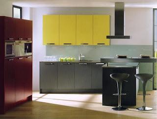 cocina-minimalista-combinación-amarillo-rojo-gris-madrid-linea-3-cocinas